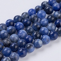 Natural Sodalite Beads Strands, Round, 6mm, Hole: 1mm, about 32pcs/strand, 7.6 inches