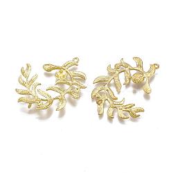 Liens en laiton piquets, pour la moitié de perles percées, sans nickel, feuille, non plaqué, 40x31x2.5mm, trou: 1 mm; broches: 0.6 mm(KK-S349-200-NF)