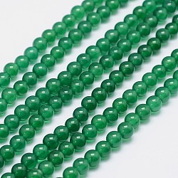 Grade A Natural Agate Round Beads Strands, Dyed, Green, 8mm, Hole: 1mm; about 48pcs/strand, 15.5inches