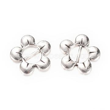 Tibetan Style Alloy Buckles, Flower, Cadmium Free & Lead Free, Antique Silver, 16x16x2mm, Hole: 7x3mm; about 870pcs/1000g(TIBE-Q064-51AS-RS)