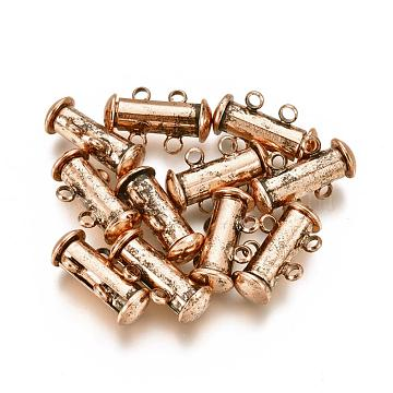 2-Strands 4-Holes Tube Brass Magnetic Slide Lock Clasps, Nickel Free, Red Copper, 16x10x7mm, Hole: 1.5mm(X-KK-D472-R-NF)