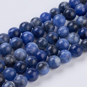 Natural Sodalite Beads Strands, Round, 6mm, Hole: 1mm, about 32pcs/strand, 7.6inches(X-G-G515-6mm-07)