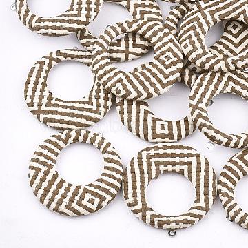 Handmade Raffia Woven Pendants, with Iron & Aluminum Findings, Flat Round, Platinum, Camel, 43.5x40.5x5mm, Hole: 1.2mm(X-WOVE-T005-36G)