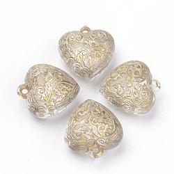 Pendentifs acryliques transparents, métal doré enlaça, cœur, clair, 22x20x11mm, Trou: 1.5mm(X-PACR-Q115-43)