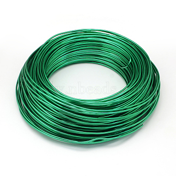 Aluminum Wire, Bendable Metal Craft Wire, for DIY Jewelry Craft Making, Green, 4 Gauge, 5.0mm, 10m/500g(32.8 Feet/500g)(AW-S001-5.0mm-25)