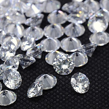 Cubic Zirconia Cabochons, Grade A, Faceted, Diamond, Clear, 1.9mm(ZIRC-M002-1.9mm-007)