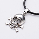 Antique Silver Alloy Skull Waxed Cord Pendant Necklaces(NJEW-O087-10)-2