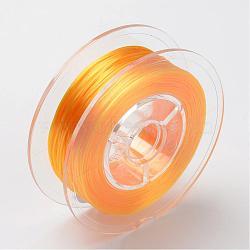 Chaîne de cristal élastique plate teinte à l'environnement japonaise, fil de perles élastique, pour la fabrication de bracelets élastiques, plat, orange, 0.6mm; Environ 60 m / rouleau (65.62 heures / rouleau)(EW-F005-0.6mm-08)