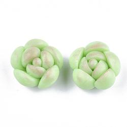 Cabochons en pâte polymère manuels, succulentes, lightgreen, 22~23x22.5~23.5x14~15mm(X-CLAY-S092-11)