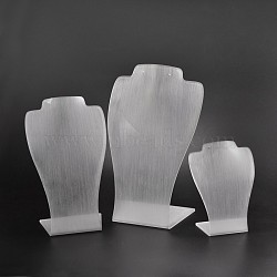 Organic Glass Necklace Display Busts Sets, White, 16.3~29x11.5~17.5x6~10cm (NDIS-N018-02)