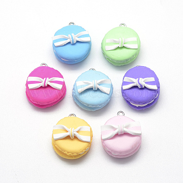 Handmade Polymer Clay Pendants, Macarons with Bowknot, Mixed Color, 28~30x25~26x16~21mm, Hole: 2mm(X-CLAY-Q240-019)