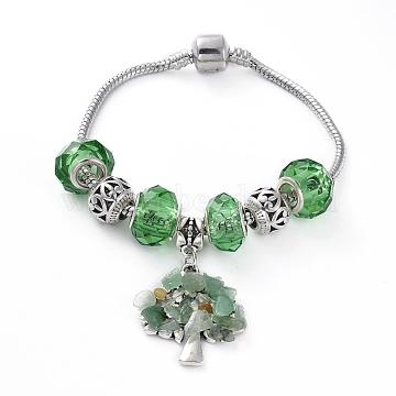 Brass European Style Bracelets, with Handmade Glass European Beads, Tibetan Style Alloy Pendants & Beads, Natural Green Aventurine Chip Beads, Tree, 7-1/2 inches(192mm) (BJEW-JB04981-01)