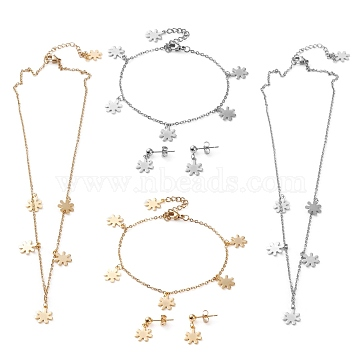 304 Stainless Steel Jewelry Sets, Cable Chains Pendant Necklaces & Stud Earrings & Bracelets, with Lobster Claw Clasps, Flower, Mixed Color, 17.59 inches(44.7cm), 7.36 inches(18.7cm), 18.5mm, Pin: 0.7mm(SJEW-Z001-16)