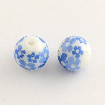 Flower Picture Glass Beads, Round, CornflowerBlue, 10x9mm, Hole: 1.5mm(X-GFB-R001-10mm-02)