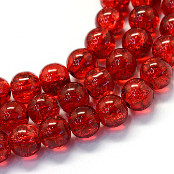 Baking Painted Transparent Crackle Glass Round Bead Strands, FireBrick, 4.5~5mm, Hole: 1mm; about 210pcs/strand, 31.4inches(X-DGLA-Q018-4mm-27)