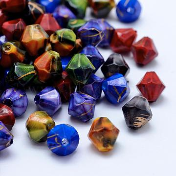 Drawbench Acrylic Beads, Spray Painted, Bicone, Mixed Color, 7.5x7.5mm, Hole: 1.5mm; about 3100pcs/500g(MACR-K331-30)