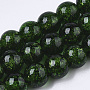 Handmade Gold Sand Lampwork Beads Strands, Round, Green, 11.5~12.5x11~12mm, Hole: 1mm; about 45pcs/Strand, 19.69''