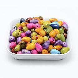Perles acryliques drawbench peintes par pulvérisation, goutte , couleur mixte, 15x9.5mm, trou: 1.5 mm; environ 650 pcs / 500 g(MACR-K331-24)