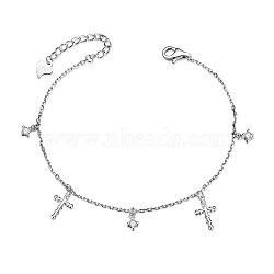 Shegrace® 925 bracelets à breloques en argent sterling, avec aaa grade zircone cubique, sculpté avec 925, traverser, platine, 6-1 / 8 (15.5 cm); croix: 10.6x6.1 mm(JB500A)