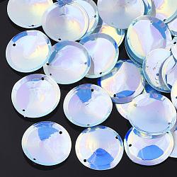 Accessoires d'ornement, liens paillette / paillettes en plastique pvc, plat rond, deepskyblue, 20~20.5x2 mm, trou: 1 mm; environ 3500 pcs / 500 g(PVC-T003-05G)