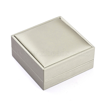 Plastic Jewelry Boxes, Covered with PU Leather, Rectangle, Gray, 9.2x9.1x4.3cm(LBOX-L004-D03)