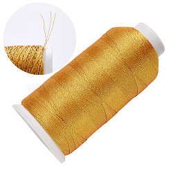 Braid Nylon Metallic Cord, 3-Ply, Gold, 0.2mm, about 1312.33 yards(1200m)/roll(MCOR-T002-01A-01)