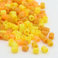 Perles hama, perles à repasser pour DIY, Tube, jaune, 5x5mm, Trou: 3mm(DIY-X0201-03)