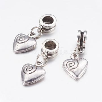 Valentine Day Gift Ideas for Men Alloy European Dangle Beads, Heart, Antique Silver, 26mm, Hole: 5mm(PALLOY-JF00001-28)