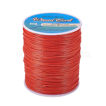 BENECREAT Waxed Polyester Cord, Orange Red, 1mm; about 200yards/roll(600 feet/roll)(YC-BC0001-01F)