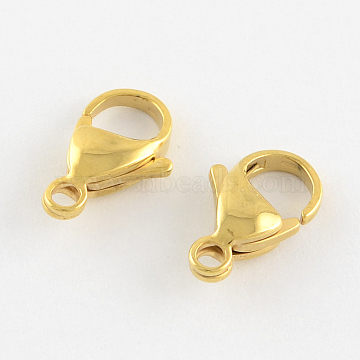 304 Stainless Steel Lobster Claw Clasps, Parrot Trigger Clasps, Manual Polishing, Real 18K Gold Plated, 15x9x4mm, Hole: 2mm(X-STAS-R050-15x9mm-02)