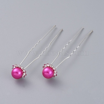 Silver Magenta Iron Hair Forks