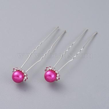 Silver Magenta Iron Hair Forks