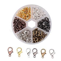 1 boîte 240 pcs 6 couleurs fermoir mousqueton en alliage de zinc, couleur mixte, 10x6mm, trou: 1 mm; environ 40 pcs / compartiment(PALLOY-JP0002)