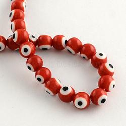 """Perles rondes vernissées de mauvais œil manuelles, rouge, 10mm, trou: 1mm; environ 38 pcs/chapelet, 14.1""""(X-LAMP-R114-10mm-05)"""