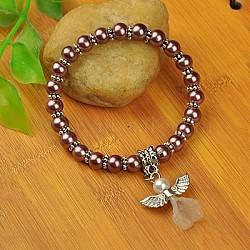 Bracelets d'ange belle avec robe de mariée pour les enfants, bracelets carnaval extensibles, avec verre perles de nacre et de perles de style tibétain, rosybrown, 45mm(BJEW-JB00727-22)