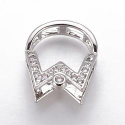 Pendentifs en laiton, avec zircons, pour la moitié de perles percées, clair, platine, 17x14.5x10mm, trou: 3.4~4x3~3.5 mm; diamètre intérieur: 6 mm; goupille: 1mm(KK-L177-12P)