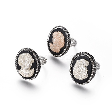 Adjustable Resin Rings, with Shell, Polymer Clay Rhinestone and Brass Findings, Oval with Lady, Platinum, Size 9, 19mm(RJEW-K229-M01)