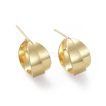 Brass Stud Earrings, Half Hoop Earrings, with Ear Nuts and Sterling Silver Pin, Ring, Golden, 17x9~10mm; Pin: 0.7mm(X-EJEW-L234-28G)