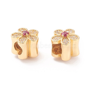 Brass Micro Pave Cubic Zirconia European Beads, Large Hole Beads, Long-lasting Plated, Flower, Real 18K Gold Plated, 9.5x10x10mm, Hole: 4mm(X-MPDL-P005-01G)