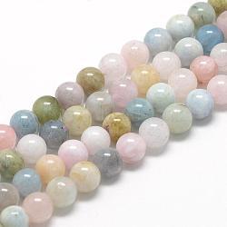 "Chapelets de perles en morganite naturelle, grade AB, rond, 10mm, trou: 1mm; environ 40 pcs/chapelet, 15.7""(G-R446-10mm-06)"
