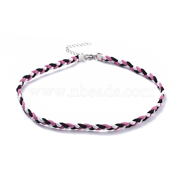 Faux Suede Cord Braided Necklaces, with 304 Stainless Steel Lobster Claw Clasps and Iron Findings, Pearl Pink, 14.96 inches(38cm)(NJEW-JN02505-01)