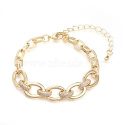 bracelets chaînes en laiton, avec zircone cubique transparente et fermoirs à pince de homard, texturé, plaqué longue durée, or, 6-1 / 4 (16 cm)(BJEW-I286-04G)