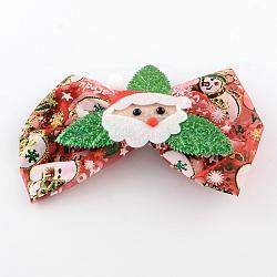 Noël organza bowknot alligator pinces à cheveux, avec des clips de fer, indianred, platine, 94x142mm; clip: 56x8mm(PHAR-R167-23)