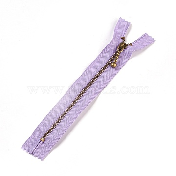 Garment Accessories, Nylon Closed-end Zipper, with Metal Zipper Puller, Zip-fastener Component, Antique Bronze, Lilac, 18.8~19.2x2.8x0.2mm(FIND-WH0028-03-A08)