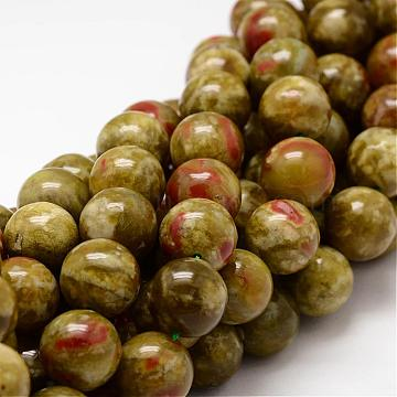 Round Natural Dragon Blood Jasper Beads Strands, 8mm, Hole: 1mm; about 48pcs/strand, 15.75inches(G-K072-8mm)