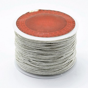 Polyester Cord, Metallic String Thread For Jewelry Making, Silver, 1mm, about 87.48 yards(80m)/roll(NWIR-I011-B02)