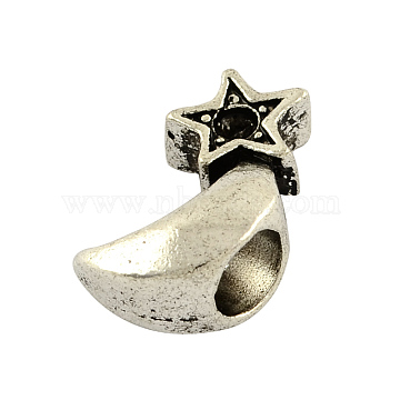 Moon with Star Tibetan Style Alloy Bead Rhinestone Settings, Lead Free, Antique Silver, 15x8x7mm, Hole: 5mm; fit for 2mm rhinestone; about 390pcs/1000g(TIBEB-7800-AS-LF)