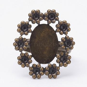 Adjustable Brass Pad Finger Ring Settings, Flower, Size 7, Antique Bronze, Tray: 10x14mm; 17mm(X-KK-D527-11AB)