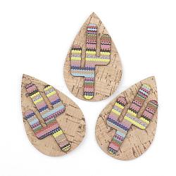 Gros pendentifs en cuir pu, avec un chiffon, goutte d'eau avec cactus, navajo blanc, 70x45x3mm, Trou: 1.5mm(X-FIND-T020-022)