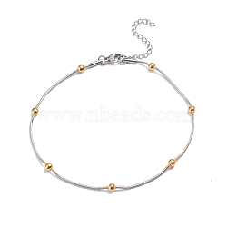 304 Stainless Steel Round Snake Chain Anklets, with Round Beads and Lobster Claw Clasps, Golden & Stainless Steel Color, 9-1/2 inches(24cm)(AJEW-G024-13A)